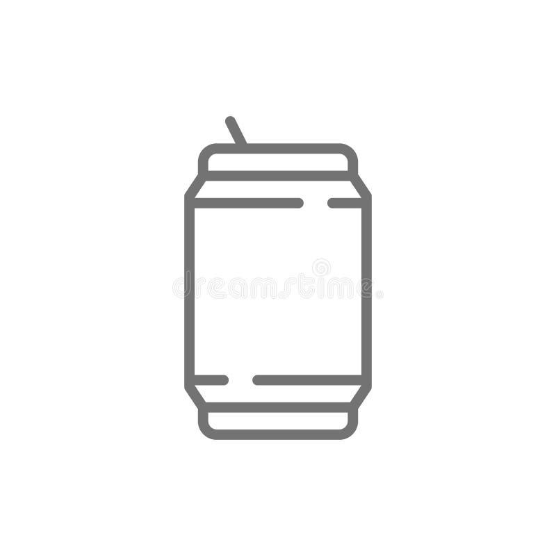 Η διανυσματική μπύρα μπορεί, να κονσερβοποιήσει, εικονίδιο γραμμών απορριμάτων ελεύθερη απεικόνιση δικαιώματος