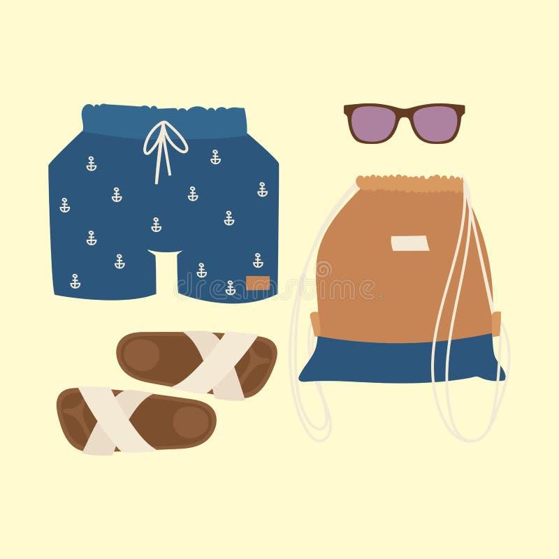Η διανυσματική μόδα υφασμάτων μπικινιών Beachwear φαίνεται ελαφριά ομορφιά θάλασσας συλλογής γυναικών τρόπου ζωής διακοπών θάλασσ απεικόνιση αποθεμάτων