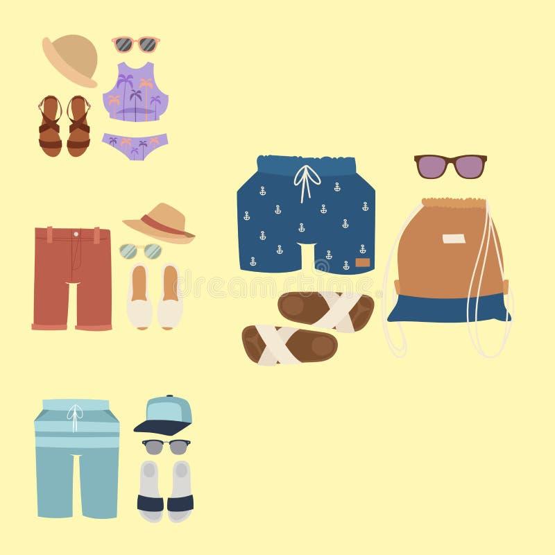 Η διανυσματική μόδα υφασμάτων μπικινιών Beachwear φαίνεται ελαφριά ομορφιά θάλασσας συλλογής γυναικών τρόπου ζωής διακοπών θάλασσ ελεύθερη απεικόνιση δικαιώματος