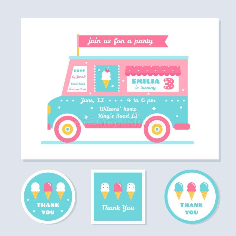 Η διανυσματική πρόσκληση κόμματος παιδιών φορτηγών παγωτού και σας ευχαριστεί κάρτες ελεύθερη απεικόνιση δικαιώματος