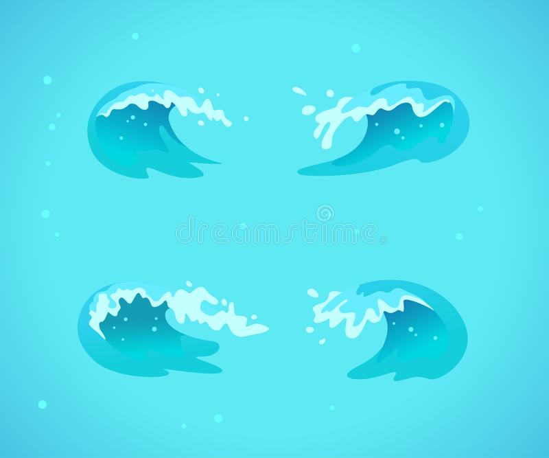 Η διανυσματική συλλογή των οριζόντια μπλε κυμάτων νερού, splatters, κάμπτει τα εικονίδια στο μπλε υπόβαθρο ελεύθερη απεικόνιση δικαιώματος