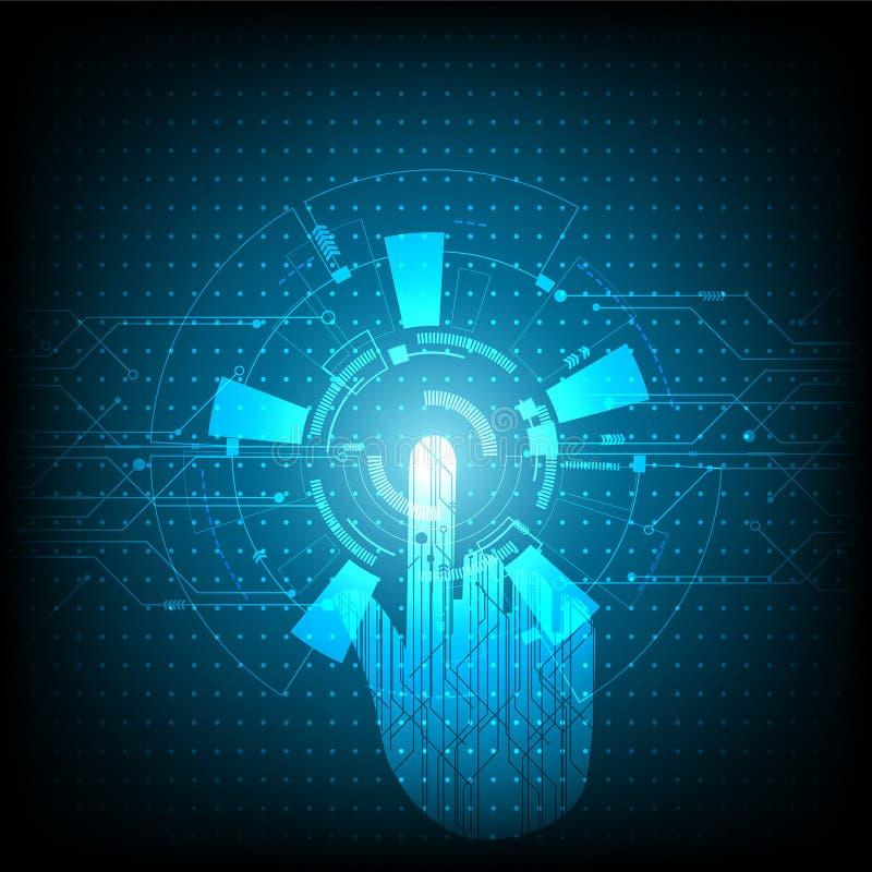 Η διανυσματική τεχνολογία και αγγίζει το μέλλον, υπόβαθρο το μέλλον της εμπειρίας χρηστών Αφηρημένος φουτουριστικός πίνακας κυκλω διανυσματική απεικόνιση