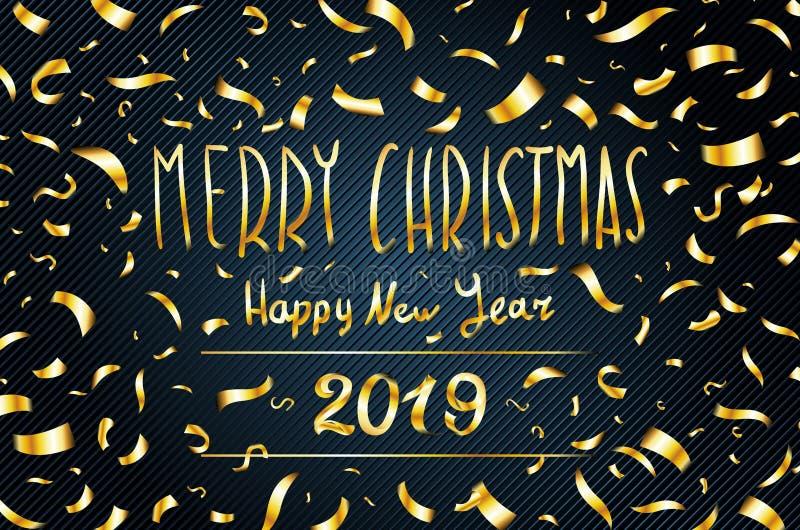 Η διανυσματική χρυσή ευχετήρια κάρτα καλής χρονιάς το 2019 Χαρούμενα Χριστούγεννας ακτινοβολεί χρυσό κομφετί στο μαύρο υπόβαθρο α διανυσματική απεικόνιση