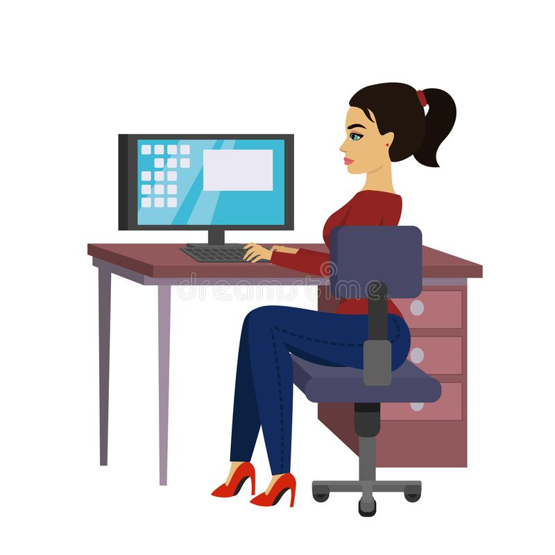 Η διανυσματική όμορφη επιχειρησιακή γυναίκα απεικόνισης στο γραφείο εργάζεται στο φορητό προσωπικό υπολογιστή στο επίπεδο ύφος ελεύθερη απεικόνιση δικαιώματος