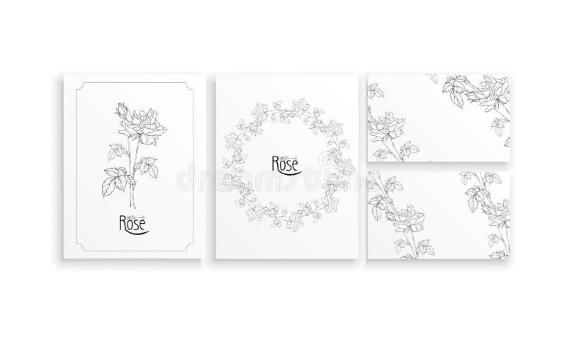 Η διανυσματική floral ρύθμιση με τα ροδαλά λουλούδια και αυξήθηκε οφθαλμοί στοκ εικόνες