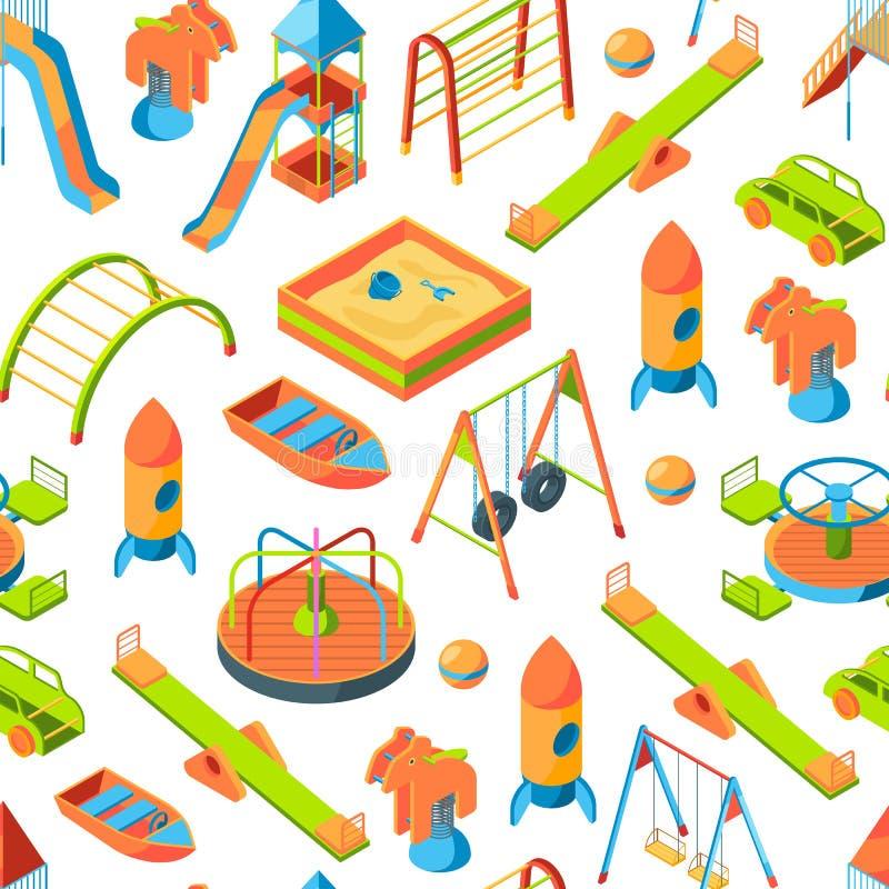 Η διανυσματική isometric παιδική χαρά αντιτίθεται απεικόνιση υποβάθρου ή σχεδίων απεικόνιση αποθεμάτων