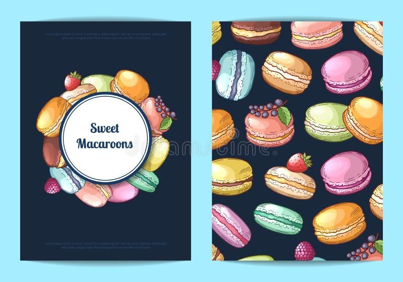 Η διανυσματικό κάρτα, το ιπτάμενο ή το φυλλάδιο για το γλυκό ή τη ζύμη ψωνίζουν με χρωματισμένα συρμένα χέρι macaroons ελεύθερη απεικόνιση δικαιώματος