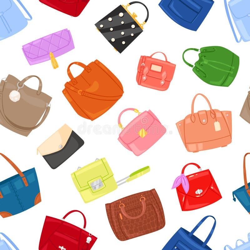 Η διανυσματικό τσάντα κοριτσιών τσαντών γυναικών ή το πορτοφόλι και η ψωνίζω-τσάντα ή ο συμπλέκτης από τη μόδα αποθηκεύουν το φαρ ελεύθερη απεικόνιση δικαιώματος