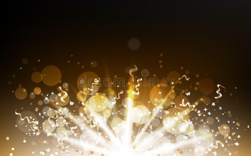Η διασπορά κομφετί έκρηξης με την ελαφριά ακτίνα, χρυσά μόρια, κορδέλλες, σκόνη, καμμένος σκόνη που θολώνεται, Bokeh ακτινοβολεί  διανυσματική απεικόνιση