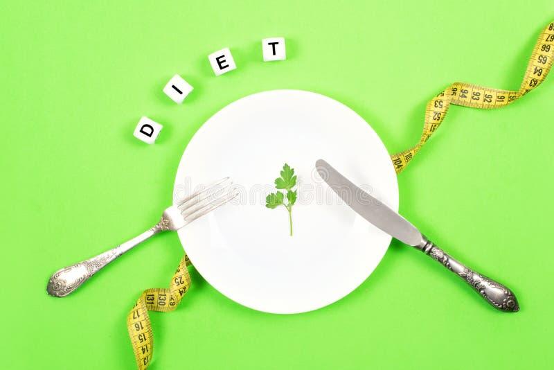 Η διατροφή, ζυγίζει την απώλεια, υγιής κατανάλωση, έννοια ικανότητας Μικρή μερίδα των τροφίμων στο μεγάλο πιάτο Μικρό πράσινο φύλ στοκ εικόνες