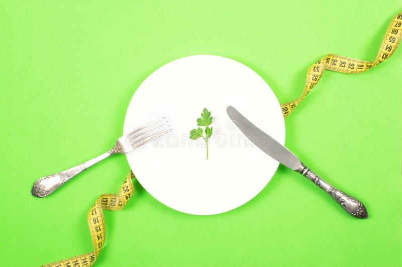 Η διατροφή, ζυγίζει την απώλεια, υγιής κατανάλωση, έννοια ικανότητας Μικρή μερίδα των τροφίμων στο μεγάλο πιάτο Μικρό πράσινο φύλ στοκ φωτογραφία με δικαίωμα ελεύθερης χρήσης