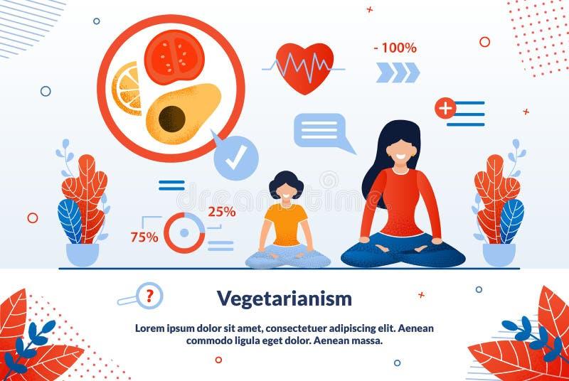 Η διαφημιστική αφίσα είναι γραμμένη επίπεδη χορτοφαγία διανυσματική απεικόνιση