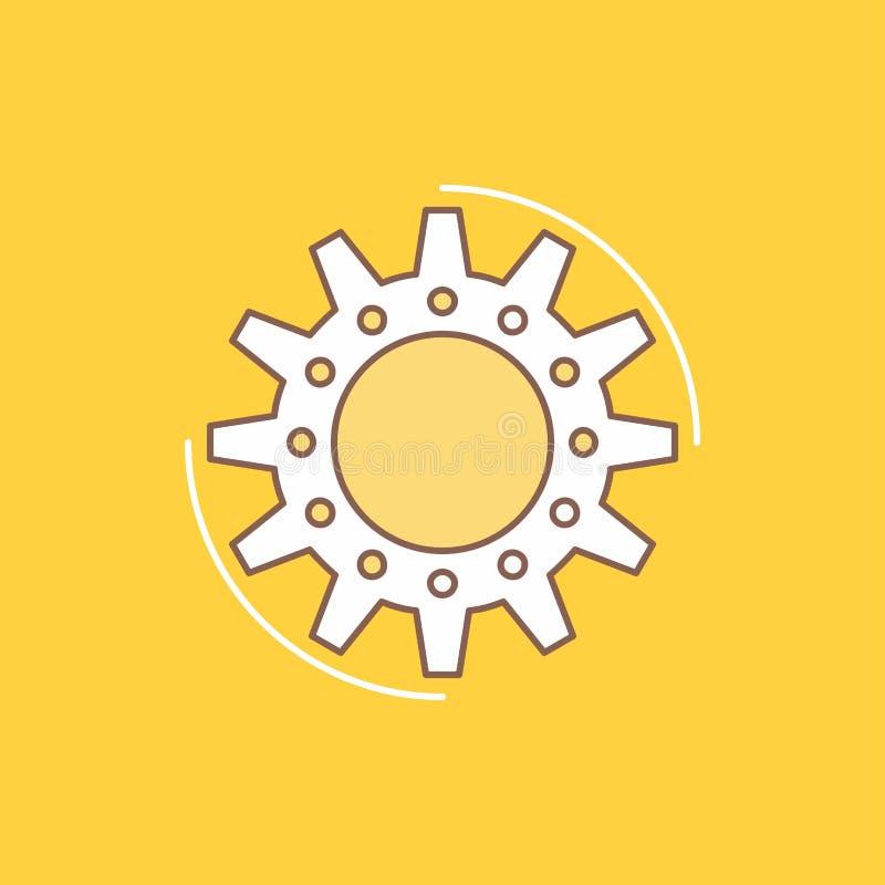 η διαχείριση, διαδικασία, παραγωγή, στόχος, λειτουργεί το επίπεδο γεμισμένο γραμμή εικονίδιο Όμορφο κουμπί λογότυπων πέρα από το  διανυσματική απεικόνιση