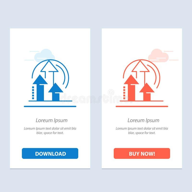 Η διαχείριση, η μέθοδος, η απόδοση, το προϊόν μπλε και το κόκκινο μεταφορτώνουν και αγοράζουν τώρα το πρότυπο καρτών Widget Ιστού απεικόνιση αποθεμάτων