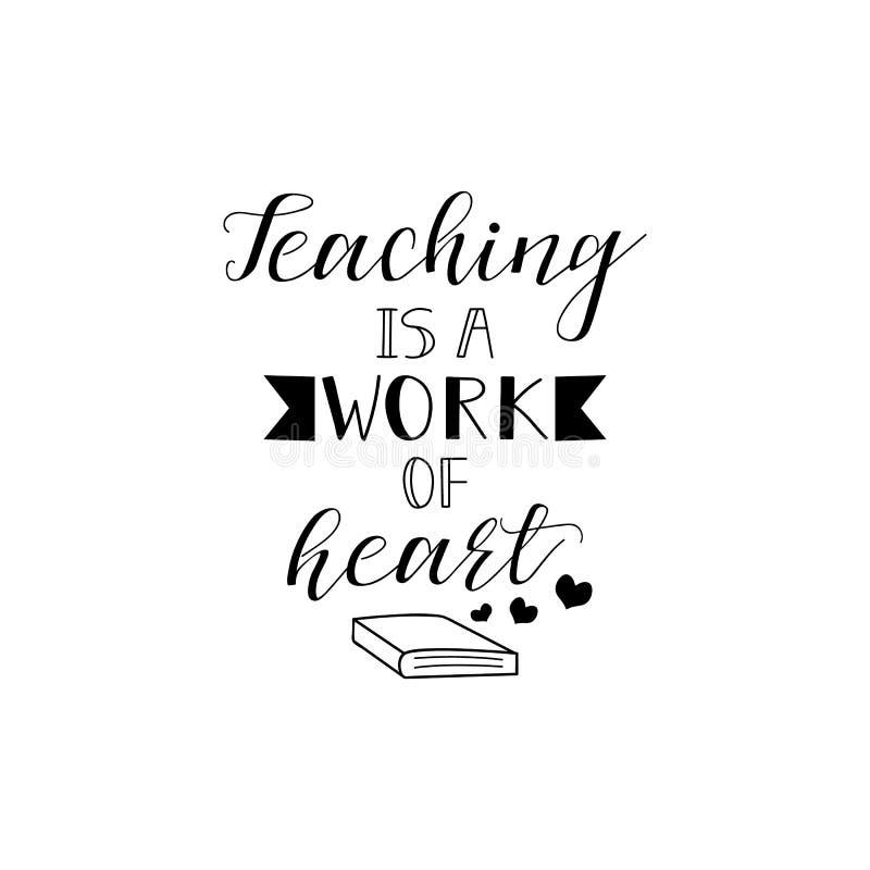 Η διδασκαλία είναι μια εργασία της καρδιάς διανυσματικό λευκό καρ&chi Ημέρα δασκάλων ` s Σύγχρονες εγγραφή και καλλιγραφία χεριών διανυσματική απεικόνιση