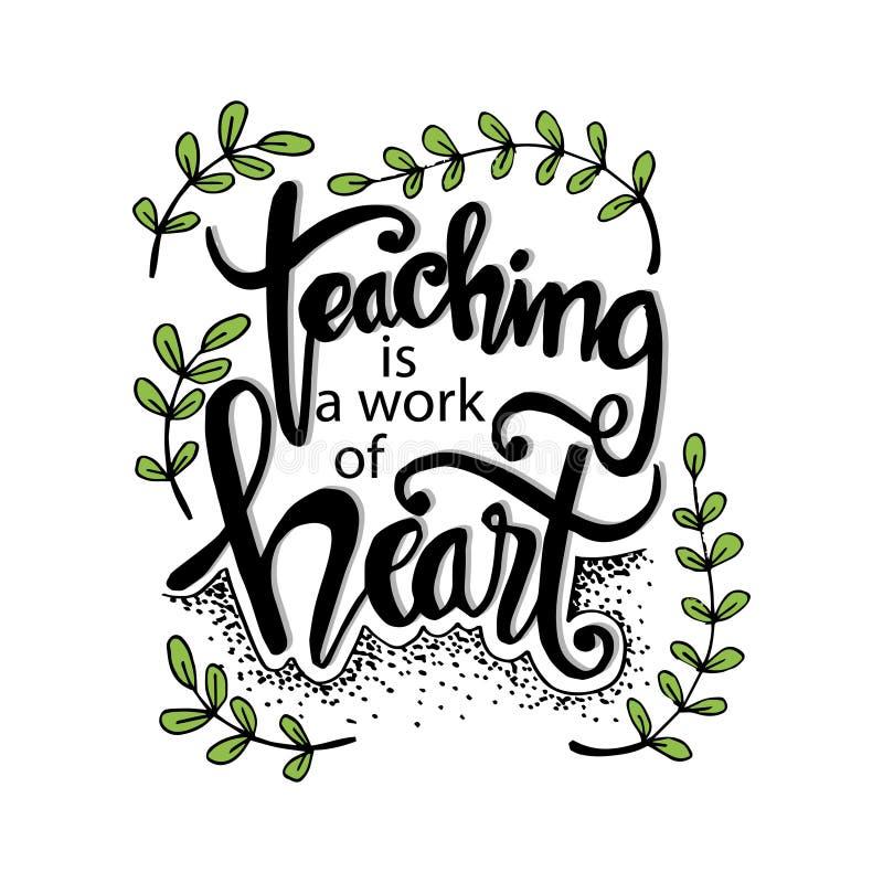 Η διδασκαλία είναι μια εργασία της τυπογραφίας καρδιών απεικόνιση αποθεμάτων
