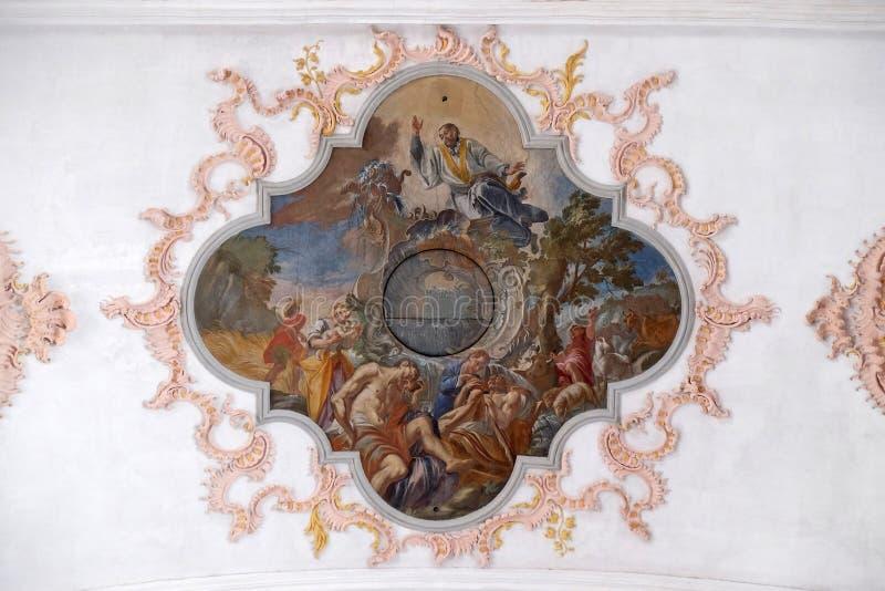 Η διδασκαλία και ο ιεραπόστολος activites του ST Francis, εκκλησία Jesuit του ST Francis Xavier σε Λουκέρνη στοκ εικόνες