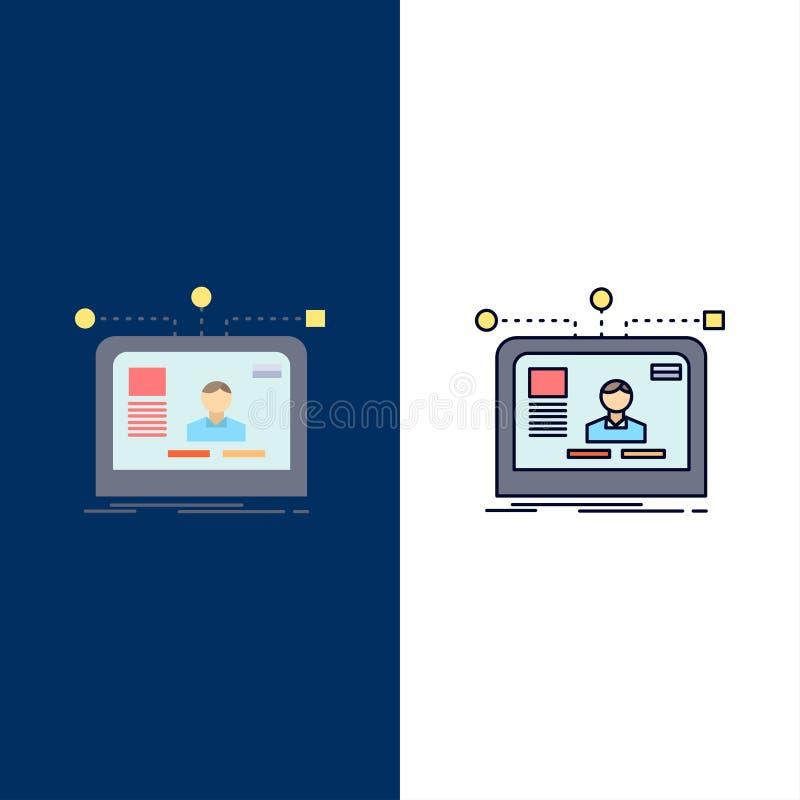 η διεπαφή, ιστοχώρος, χρήστης, σχεδιάγραμμα, σχεδιάζει το επίπεδο διάνυσμα εικονιδίων χρώματος ελεύθερη απεικόνιση δικαιώματος