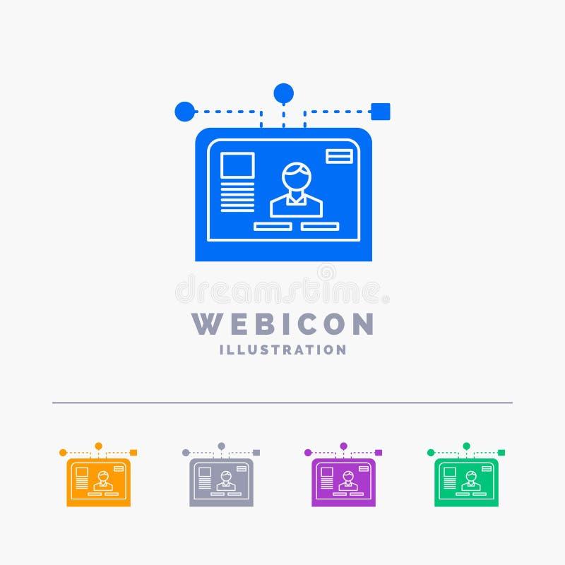 η διεπαφή, ιστοχώρος, χρήστης, σχεδιάγραμμα, το πρότυπο εικονιδίων Ιστού Glyph 5 χρώματος που απομονώνεται σχεδιάζει στο λευκό r ελεύθερη απεικόνιση δικαιώματος