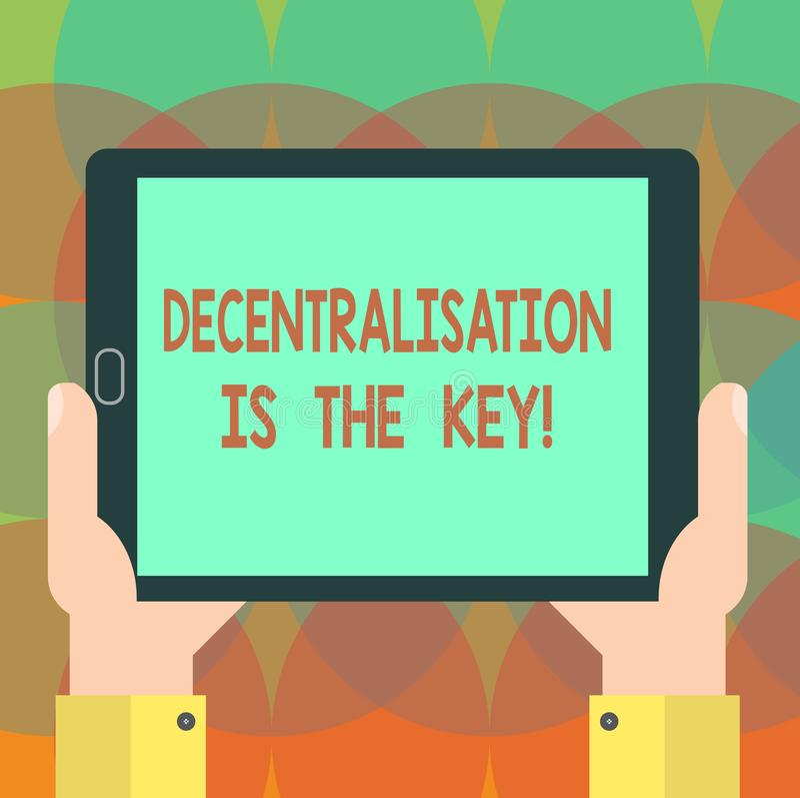 Η διοικητική αποκέντρωση κειμένων γραψίματος λέξης είναι το κλειδί Επιχειρησιακή έννοια για το μέλλον cryptocurrency αλυσίδων φρα απεικόνιση αποθεμάτων