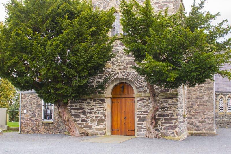 Η δρύινη πόρτα της εκκλησίας κοινοτήτων Drumbo που πλαισιώνεται από δύο αρχαία δέντρα ιουνιπέρων στη κομητεία κάτω από το χωριό D στοκ φωτογραφία