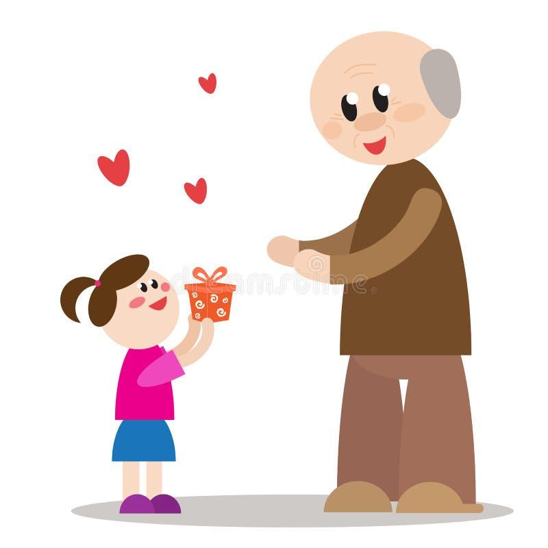 Η εγγονή δίνει στον παππού ένα GIF ελεύθερη απεικόνιση δικαιώματος