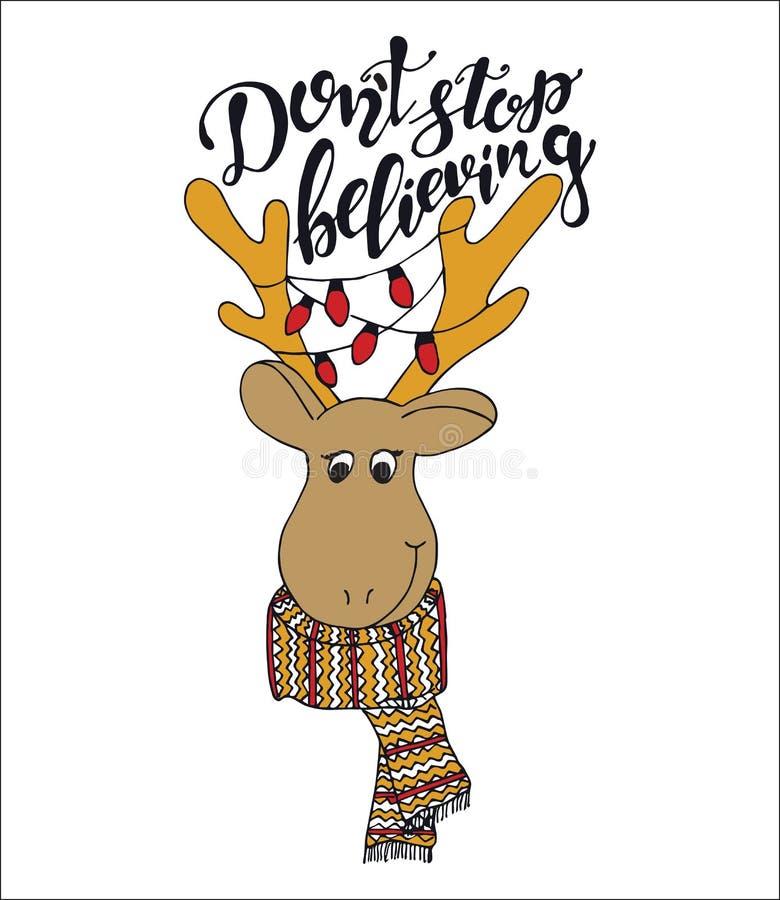 Η εγγραφή αποσπάσματος Χαρούμενα Χριστούγεννας δεν σταματά με αγαπητό διανυσματική απεικόνιση