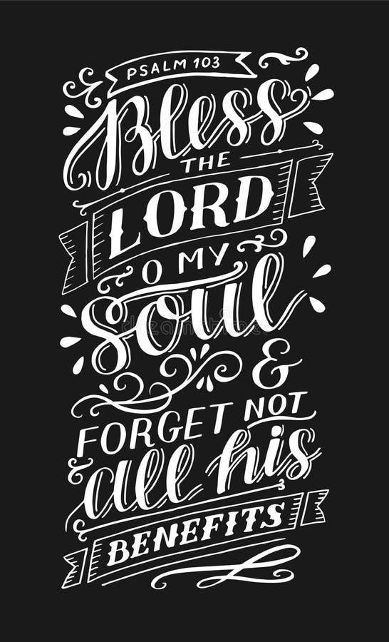 Η εγγραφή χεριών με το στίχο Βίβλων ευλογεί το Λόρδο, ο η ψυχή μου και ξεχνά όχι όλα τα οφέλη του Ψαλμός στο μαύρο υπόβαθρο διανυσματική απεικόνιση