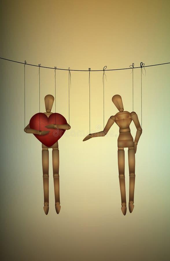 Η εγωιστική έννοια, μαριονέτα κρατά τη μεγάλη καρδιά και δεν μοιράζεται με άλλη, άπληστος εραστής, απεικόνιση αποθεμάτων