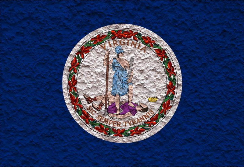 Η εθνική σημαία των ΗΠΑ δηλώνει τη Βιρτζίνια μέσα ενάντια σε έναν γκρίζο τοίχο με την πετρώδη επιφάνεια την ημέρα της ανεξαρτησία ελεύθερη απεικόνιση δικαιώματος