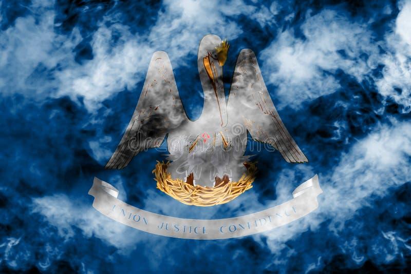 Η εθνική σημαία των ΗΠΑ δηλώνει τη Λουιζιάνα μέσα ενάντια σε έναν γκρίζο καπνό την ημέρα της ανεξαρτησίας στα διαφορετικά χρώματα ελεύθερη απεικόνιση δικαιώματος