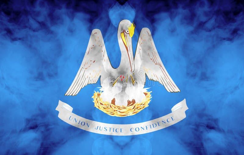 Η εθνική σημαία των ΗΠΑ δηλώνει τη Λουιζιάνα μέσα ενάντια σε έναν γκρίζο καπνό την ημέρα της ανεξαρτησίας στα διαφορετικά χρώματα διανυσματική απεικόνιση