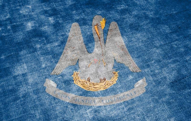 Η εθνική σημαία των ΗΠΑ δηλώνει τη Λουιζιάνα μέσα ενάντια σε ένα γκρίζο υφαντικό κουρέλι την ημέρα της ανεξαρτησίας στα διαφορετι απεικόνιση αποθεμάτων