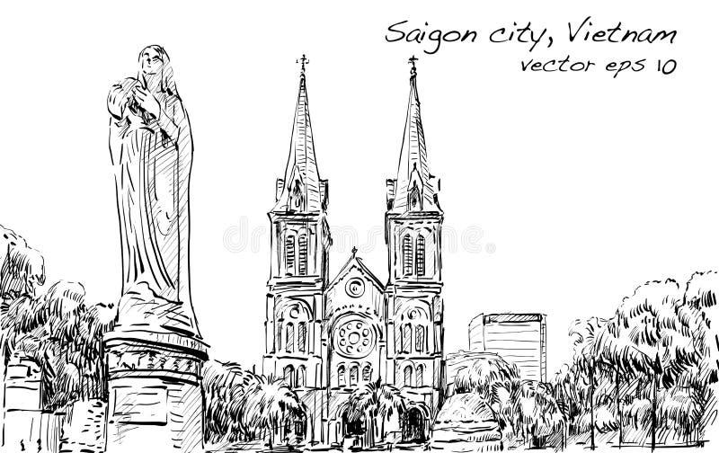 Η εικονική παράσταση πόλης σκίτσων της πόλης του Ho Chi Minh παρουσιάζει γάτα Saigon Notre-Dame διανυσματική απεικόνιση
