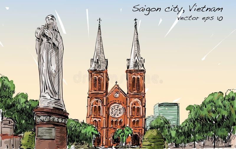 Η εικονική παράσταση πόλης σκίτσων της πόλης του Ho Chi Minh παρουσιάζει γάτα Saigon Notre-Dame ελεύθερη απεικόνιση δικαιώματος