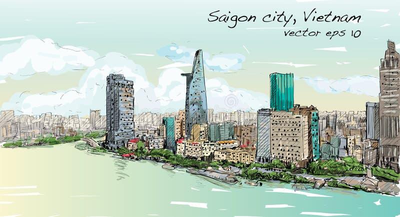 Η εικονική παράσταση πόλης σκίτσων Chi Mihn Βιετνάμ Ho πόλεων Saigon παρουσιάζει ουρανό διανυσματική απεικόνιση