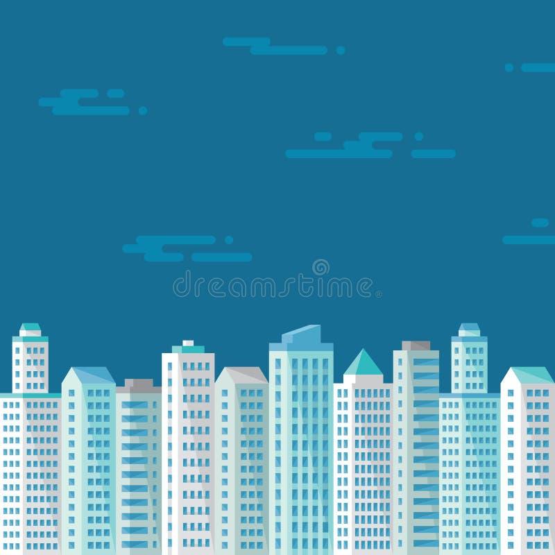 Η εικονική παράσταση πόλης στο μπλε υπόβαθρο στο επίπεδο ύφος για την παρουσίαση, το βιβλιάριο, το φυλλάδιο και το διαφορετικό σχ απεικόνιση αποθεμάτων