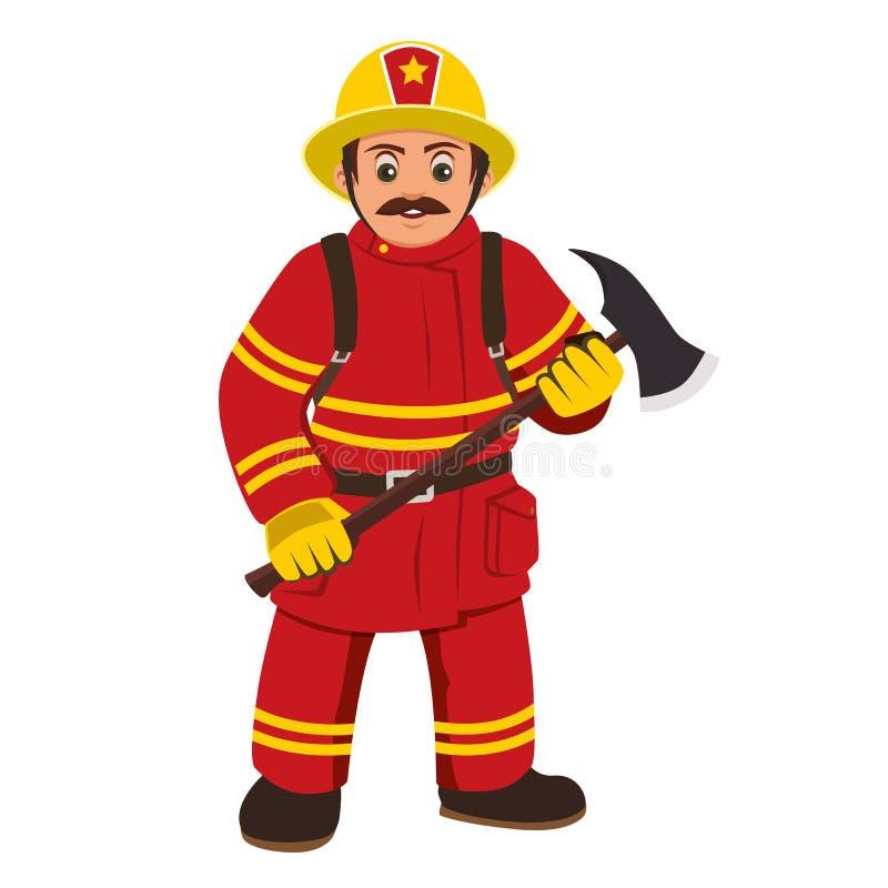 Η εικόνα ενός πυροσβέστη που κρατά ένα τσεκούρι απεικόνιση αποθεμάτων