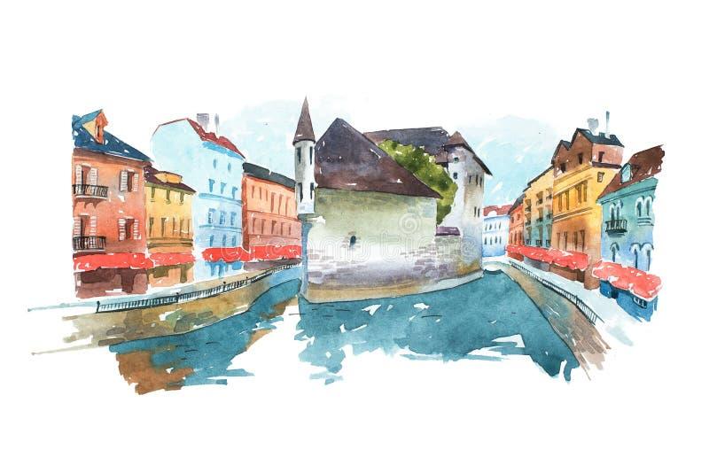 Η εικόνα της ενετικής εικονικής παράστασης πόλης με ένα σπίτι στο μέσο κανάλι χρωμάτισε τα watercolors Χρωματίζοντας Βενετία, πόλ ελεύθερη απεικόνιση δικαιώματος