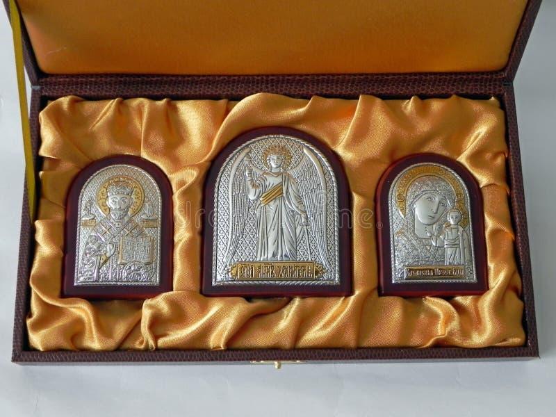 Η εικόνα του Αγίου στην εικόνα Εικονίδιο σε ένα όμορφο σύνολο δώρων r στοκ εικόνες