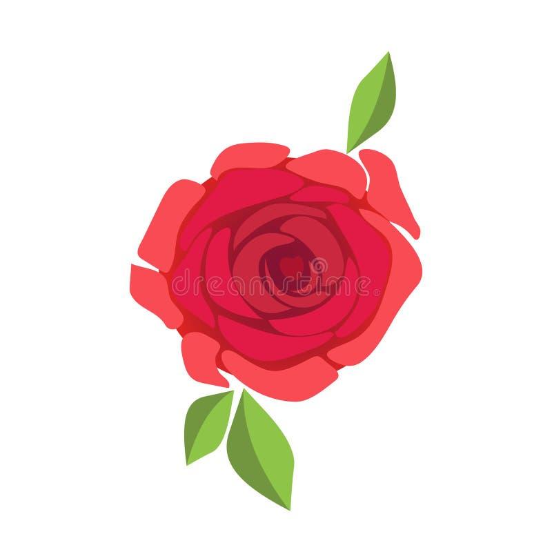 Η εικόνα όμορφου κόκκινου αυξήθηκε απομονωμένος στο άσπρο υπόβαθρο eps10 να γεμίσει προτύπων λουλουδιών πορτοκαλιά rac ric ράβοντ διανυσματική απεικόνιση