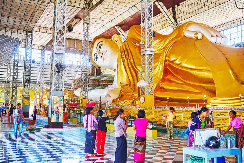 Η εικόνα Shwethalyaung Βούδας, Bago, το Μιανμάρ στοκ φωτογραφίες με δικαίωμα ελεύθερης χρήσης