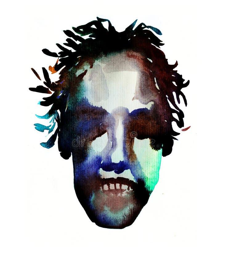 Η εικόνα Watercolor του προσώπου zombie σε αποκριές ή το κόμμα αφίσα ελεύθερη απεικόνιση δικαιώματος