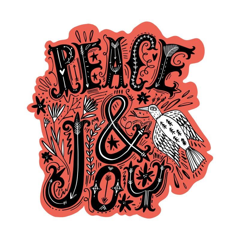 Η ειρήνη και αγαπά την αφίσσα Πετώντας περίκομψο πουλί Ύφος τσιγγάνων Boho ελεύθερη απεικόνιση δικαιώματος