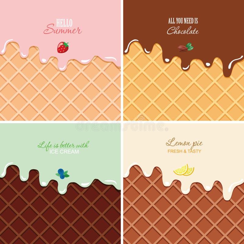 Η λειωμένη κρέμα στο υπόβαθρο γκοφρετών έθεσε - φράουλα, σοκολάτα, βακκίνιο, λεμόνι Μακρο σύσταση παγωτού με το διάστημα αντιγράφ απεικόνιση αποθεμάτων