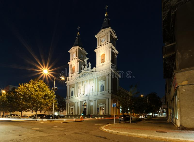 Η εκκλησία στο κέντρο της Οστράβα Foto βραδιού στοκ εικόνα με δικαίωμα ελεύθερης χρήσης