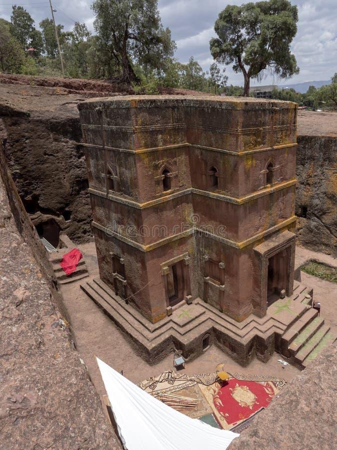 Η εκκλησία του ST George, είναι χαρασμένη στο βράχο, Lalibela, Αιθιοπία στοκ εικόνα