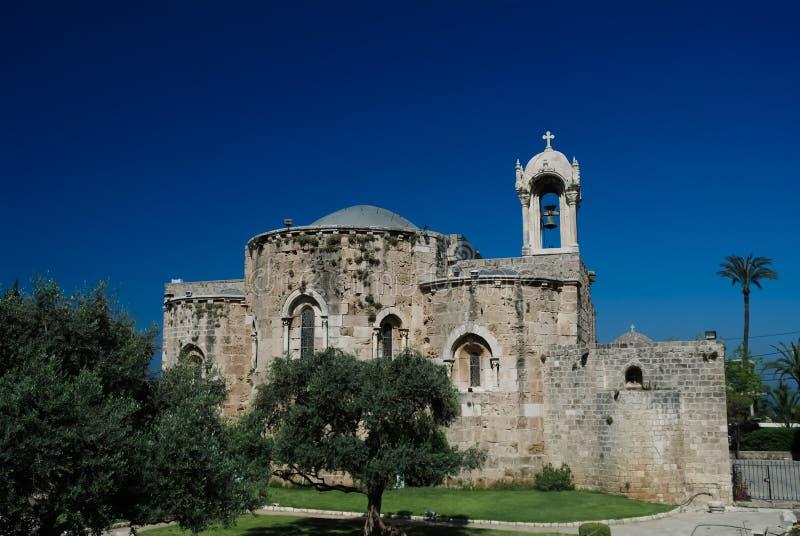 Η εκκλησία σταυροφορία-εποχής του John-σημαδιού του ST, Byblos, Λίβανος στοκ φωτογραφία με δικαίωμα ελεύθερης χρήσης