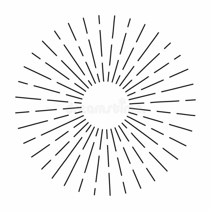 Η εκλεκτής ποιότητας ηλιοφάνεια στις γραμμές διαμορφώνει, γραμμικός ακτινωτός αναδρομικός ήλιος έκρηξης για τον πολιτισμό hipster διανυσματική απεικόνιση