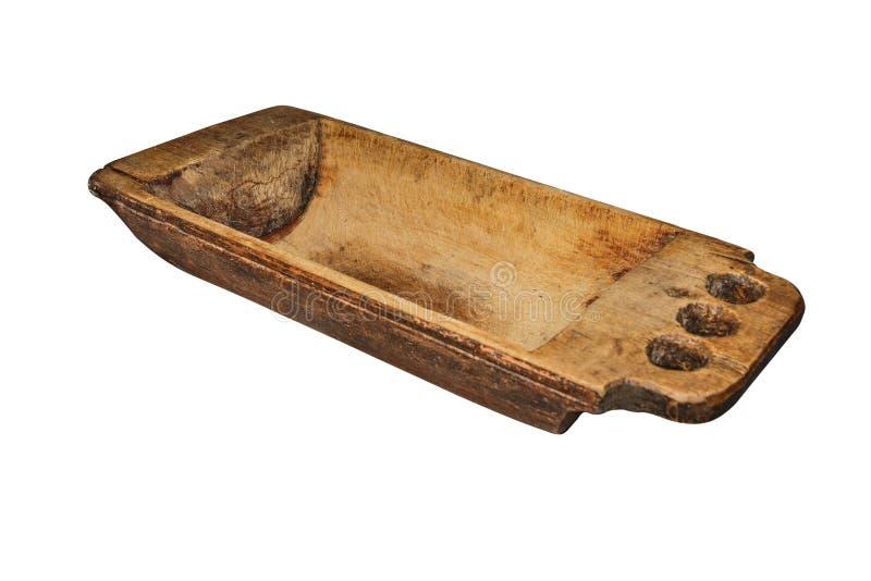 Η εκλεκτής ποιότητας ξύλινη γούρνα, χρησιμοποιούμενη, ράγισε, με τα σημεία του μύκητα ξύλινος-αποσύνθεσης οικογένεια εξοπλισμού π στοκ φωτογραφία
